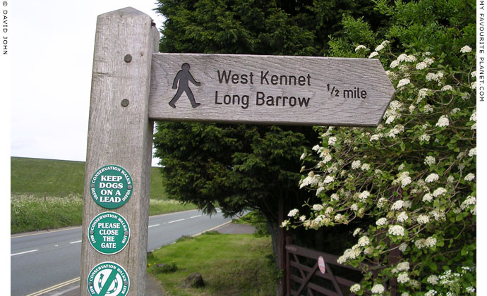 Signpost to West Kennet Long Barrow on the A4 road, Avebury, Wiltshire at My Favourite Planet