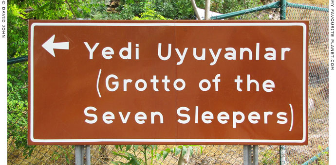 Road sign pointing the way to the Cave of the Seven Sleepers, Ephesus at My Favourite Planet