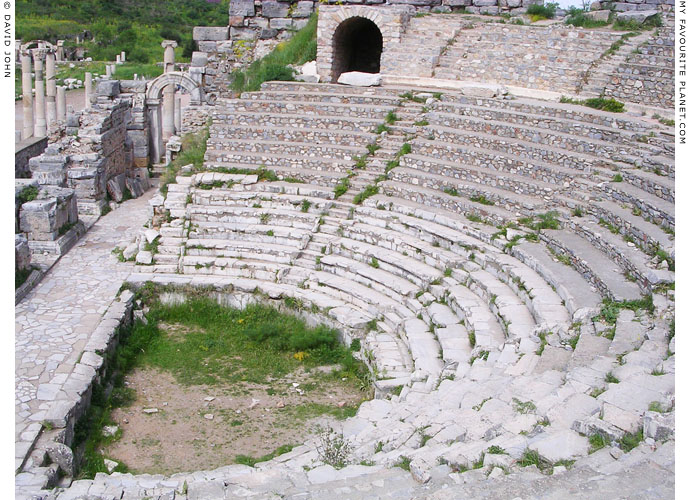 The west side of the cavea (audience seating) of the Odeion, Ephesus at My Favourite Planet