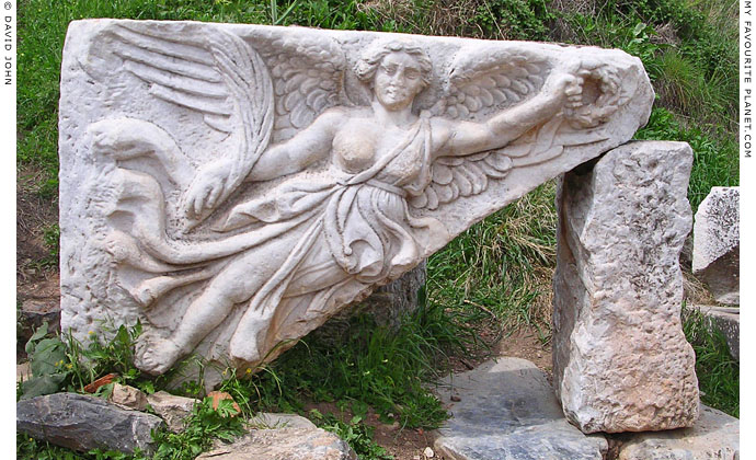 A relief of winged Nike, the Greek goddess of Victory, Ephesus, Turkey at My Favourite Planet