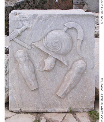 Marble relief of a helmet and armour in the Lower Commercial Agora, Ephesus, Turkey at My Favourite Planet