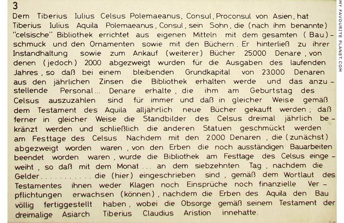 The will of Celsus in German at My Favourite Planet