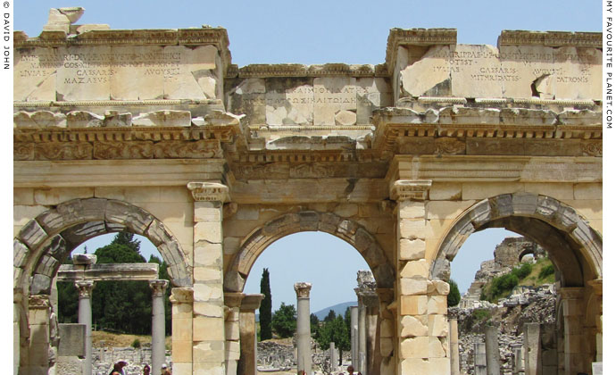The dedicatory inscription of Mazeus and Mithridates in three parts above the gateway, Ephesus, Turkey at My Favourite Planet