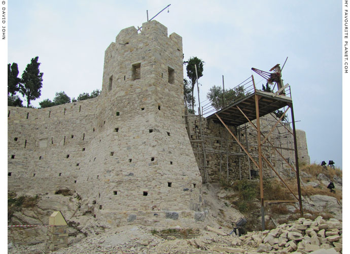 One of the towers of the Genoese fortress on Güvercin Ada, Kusadasi, Turkey, during renovation work in 2013 at My Favourite Planet