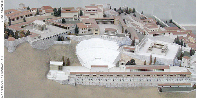 Detail of the model of the Pergamon Acropolis in the Pergamon Museum, Berlin at My Favourite Planet