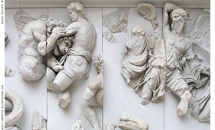 Detail of the frieze on the Great Altar of Zeus in the Pergamon Museum, Berlin at My Favourite Planet