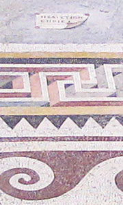 Position of Hephaistion's signature on the floor mosaic of Pergamon Palace V at My Favourite Planet