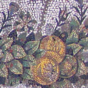 Fruit and foliage on the floor mosaic of Pergamon Palace V at My Favourite Planet