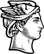 Winged head of Hermes, symbol of the Greek postal service at My Favourite Planet