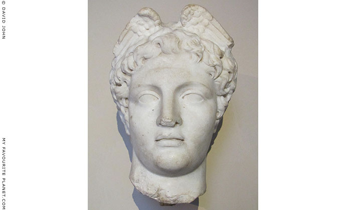 Marble winged head of Hermes after Polykleitos, from Pergamon, Turkey at My Favourite Planet