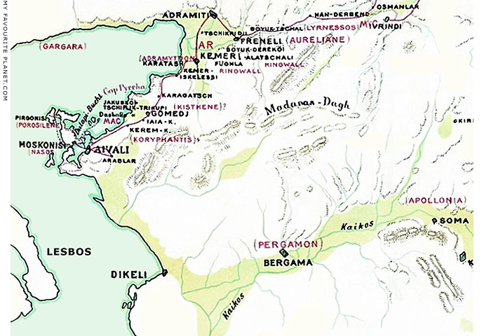 Map of the area around Bergama (Pergamon) and the Kaikos River, Turkey by Theodor Wiegand at My Favourite Planet