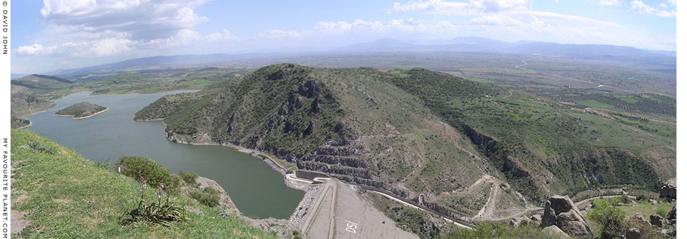 Panoramic view of the Kestel dam and reservoir northeast of the Pergamon Acropolis, Bergama, Turkey at My Favourite Planet