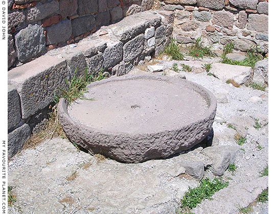 Andesite millstone in the Byzantine tower above the theatre, Pergamon Acropolis, Turkey at My Favourite Planet