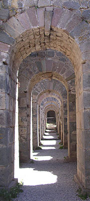 An arched tunnel beneath the Temple of Trajan, on the Pergamon Acropolis at My Favourite Planet