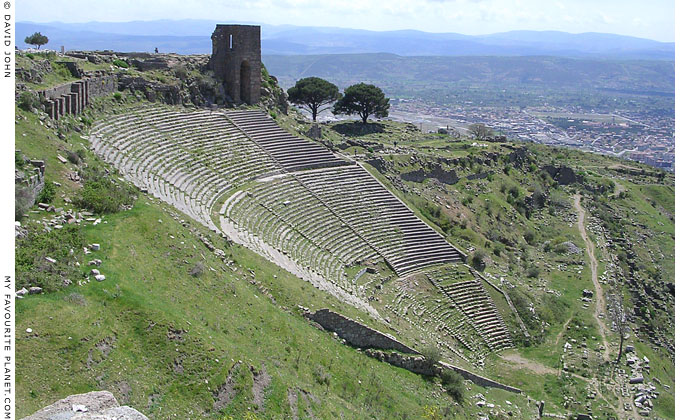 The Hellenistic theatre and a Byzantine tower on the west slope of the Pergamon Acropolis, Turkey at My Favourite Planet
