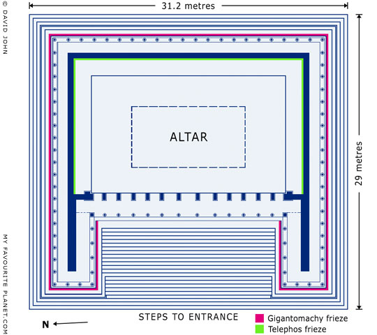 Plan of the Great Altar of Zeus, Pergamon Acropolis, Turkey at My Favourite Planet
