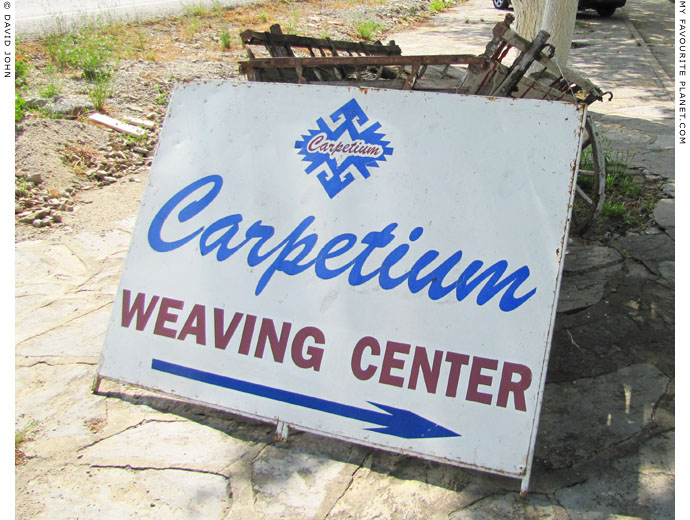 A roadside sign advertising a carpet-weaving centre, Selcuk, Turkey at My Favourite Planet