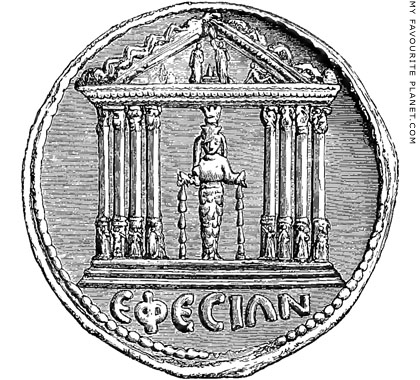 A coin showing the Artemis Ephesia statue at My Favourite Planet