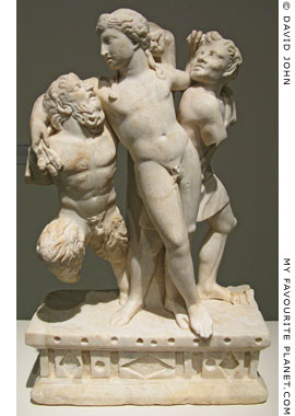 Statue of drunken Dionysus supported by Pan and a satyr at My Favourite Planet