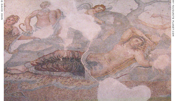 Detail of a Sleeping Ariadne mosaic in Thessaloniki Archaeological Museum at My Favourite Planet