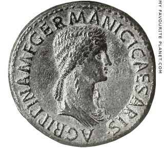 Portrait of Agrippina the Elder on a coin of Emperor Caligula at My Favourite Planet