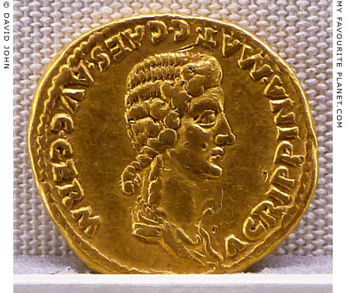 The head of Agrippina the Elder on a gold coin issued by Emperor Caligula at My Favourite Planet
