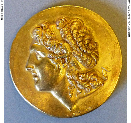 A portrait of Alexander the Great on a gold Abukir medallion at My Favourite Planet