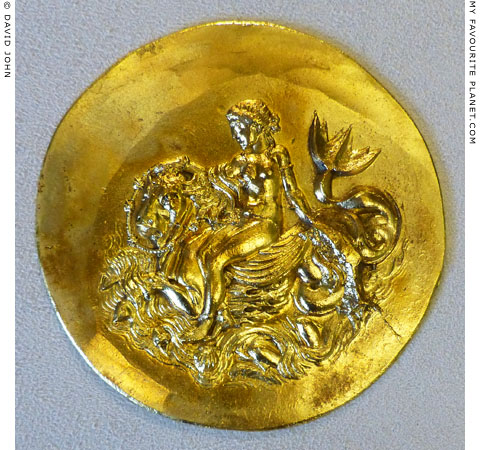 A Nereid riding a fabulous sea creature on an Abukir medallion at My Favourite Planet