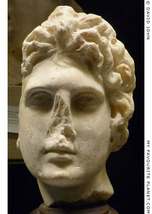 Head in the style of depictions of Alexander the Great at My Favourite Planet
