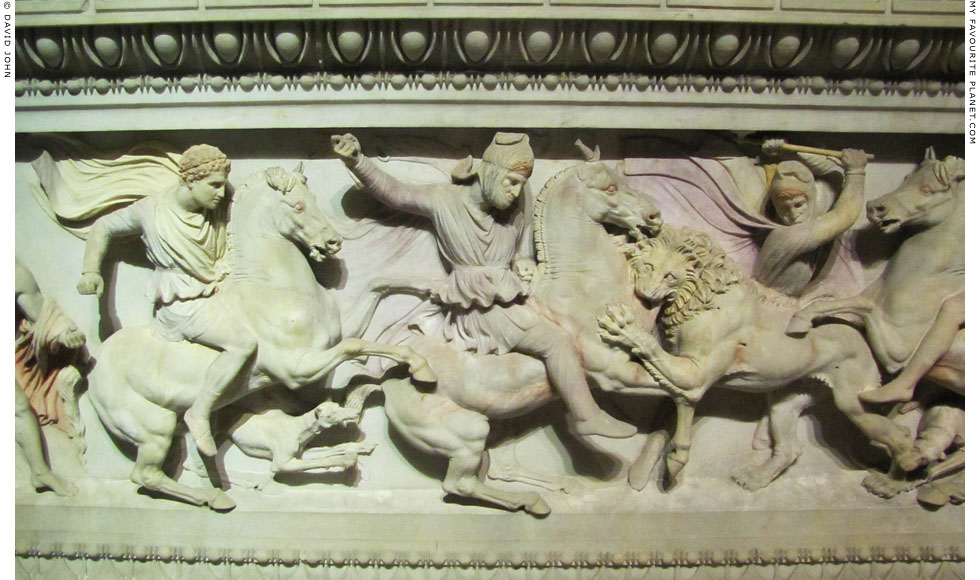 Detail of the the lion hunt relief on the Alexander Sarcophagus at My Favourite Planet