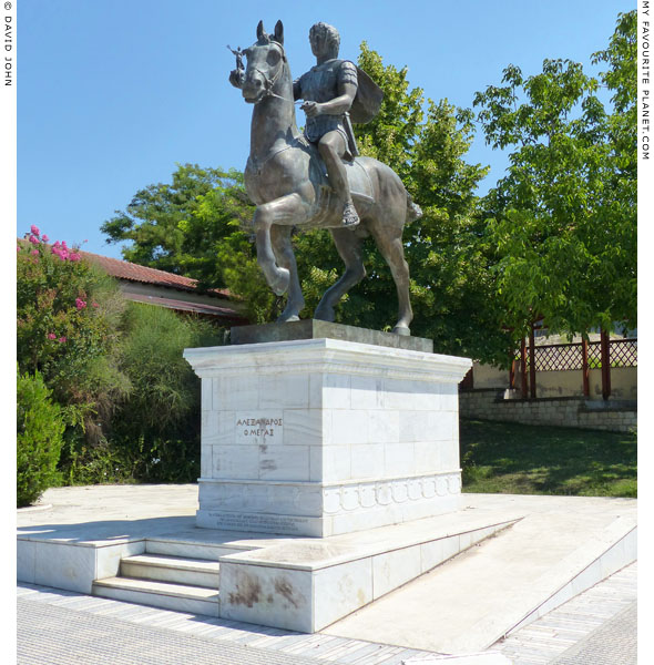 A modern equestrian statue of Alexander the Great in Pella, Macedonia, Greece at My Favourite Planet