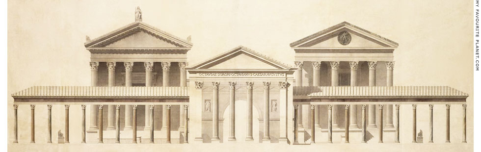 Reconstruction drawing of the Porticus Octaviae, Rome at My Favourite Planet