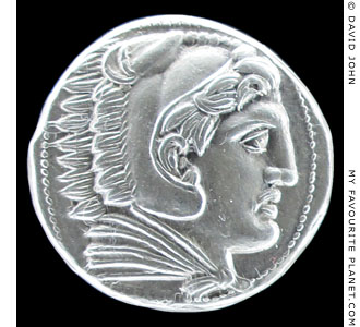 Herakles on a Macedonian silver tetradrachm coin of Alexander the Great at My Favourite Planet