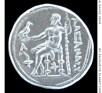Zeus Aetophoros on a Macedonian silver tetradrachm of Alexander the Great at My Favourite Planet