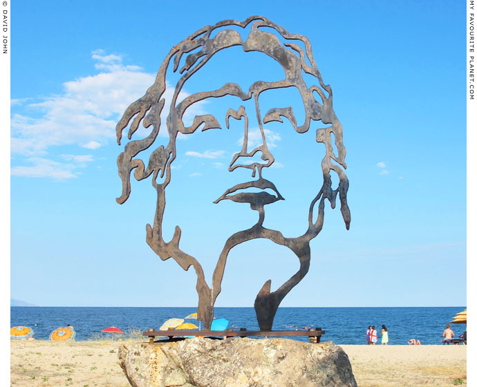 Sculpture of Alexander the Great by Tasos Papadopoulos on Asprovalta beach, Macedonia, Greece at My Favourite Planet