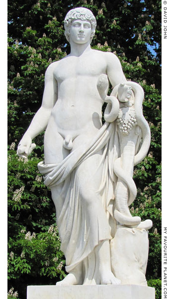 A copy of the Antinous/Agathos Daimon statue in the gardens of Sanssouci, Potsdam at My Favourite Planet