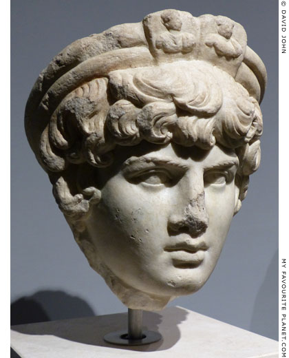 Marble head of Antinous from Ostia, Rome at My Favourite Planet