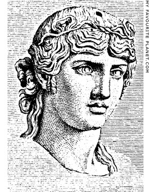Engraving of the Antinous Mondragone head in Winckelmann at My Favourite Planet