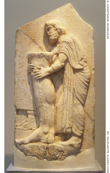 A votive relief dedicated by Lysimachides to Asklepios in Athens at My Favourite Planet
