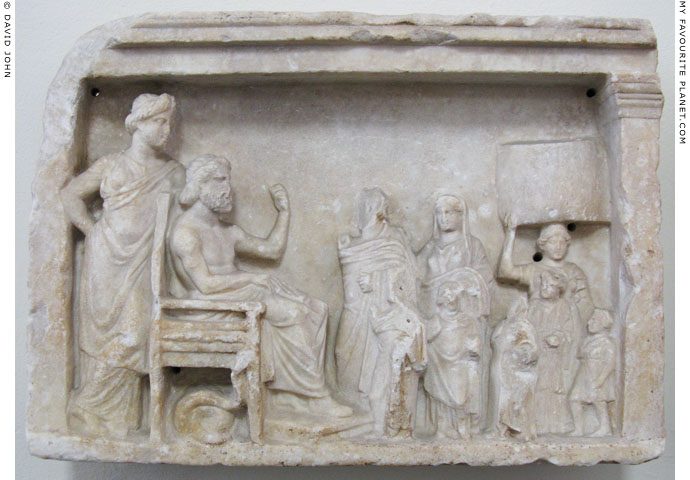 Marble votive relief of Asklepios and Hygieia from Attica at My Favourite Planet