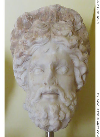 Marble head, probably Asklepios, from Corfu at My Favourite Planet
