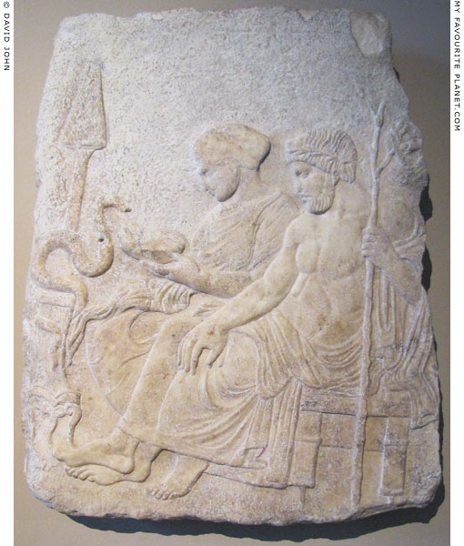 Marble relief of the healing god Asklepios and his daughter Hygieia at My Favourite Planet