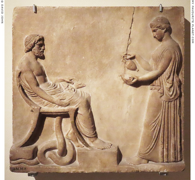 A marble relief of Asklepios and Hygieia, Rijksmuseum van Oudheden, Leiden at My Favourite Planet