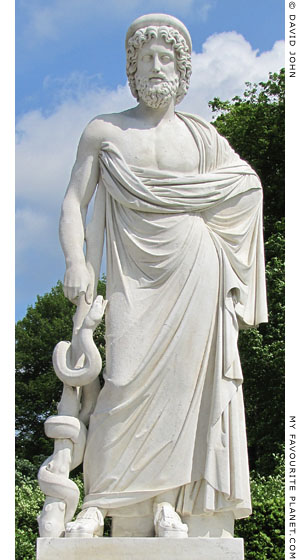 A modern statue of Asklepios, Sanssouci, Potsdam at My Favourite Planet