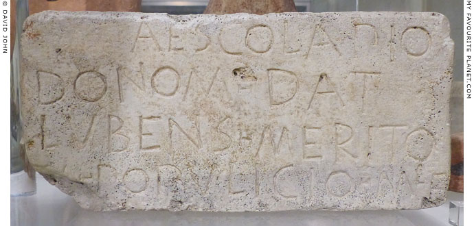 Inscribed statue base with a dedication to Asklepios from the Tiber Island, Rome at My Favourite Planet