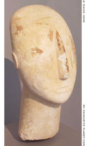 The head of a marble Cycladic statue from Amorgos at My Favourite Planet