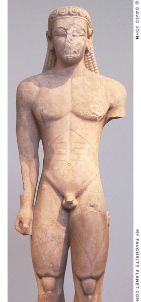 Detail of the kouros statue from Sounion at My Favourite Planet
