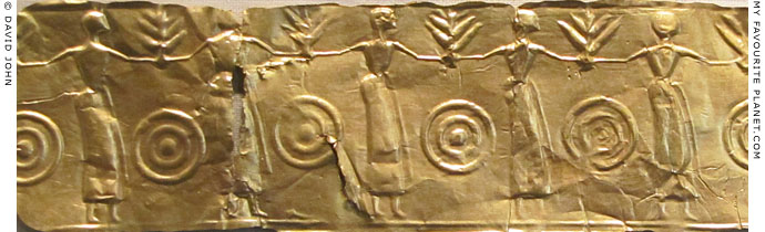 Greek gold foil relief of a round dance, 7th century BC at My Favourite Planet