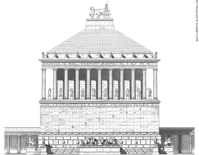 A reconstruction drawing of the Mausoleum of Halicarnassus at My Favourite Planet