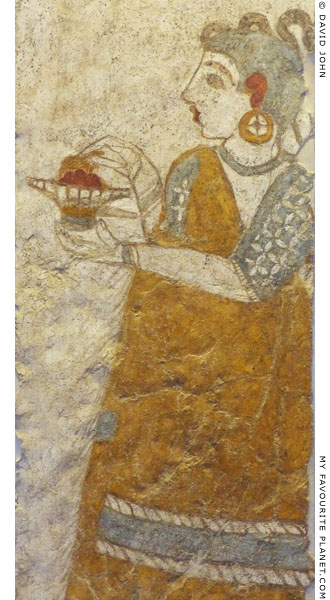 Minoan wall painting of a priestess from Thera at My Favourite Planet